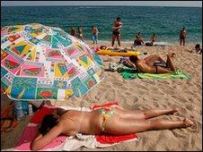 A beach in Lloret de Mar, Spain