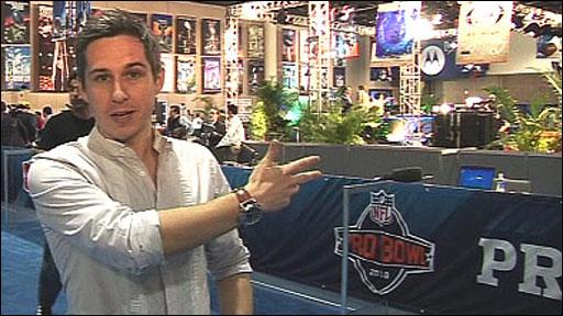 BBC Sport NFL presenter Matt Roberts at Super Bowl XLIV's Radio Row