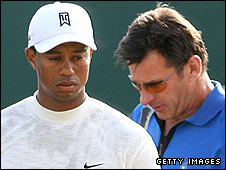 Tiger Woods (left) and Nick Faldo
