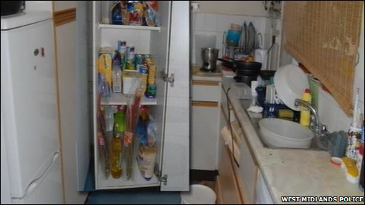 Khyra Ishaq's kitchen, where the Crown Prosecution Service say the seven-year-old Birmingham girl who starved to death, was allegedly locked out of