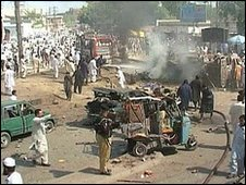 Aftermath of a suicide bombing in Peshawar, Pakistan, October 2009