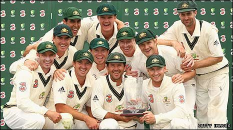 Australia receive their trophy after winning the Test series