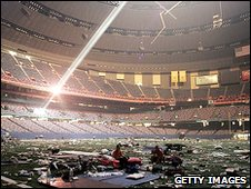 The hurrican-damaged Superdome