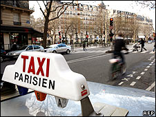 Taxi in Paris street
