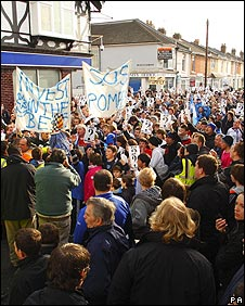 Portsmouth supporters demonstrating outside Fratton Park