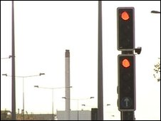 Traffic lights on the A160