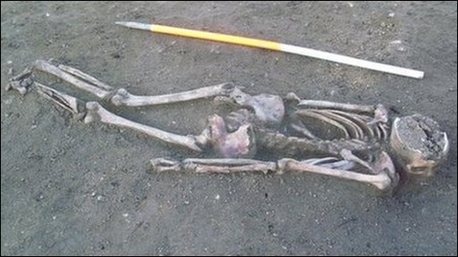 The unearthed skeleton found in Sleaford