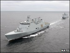 The Absalon with another Danish warship behind it (file image, Nato)