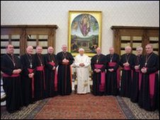 The pope with the Scottish Bishops