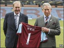 Burnley Football Club chairman Barry Kilby with Prince Charles