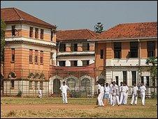 Cricket players at Royal College, Colombo, Sri Lanka, February 2010