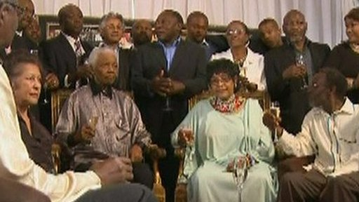 Nelson Mandela with guests