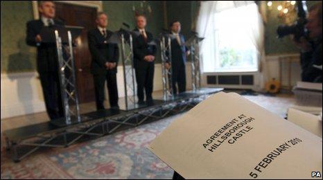 Gordon Brown, Peter Robinson, Martin McGuinness and Brian Cowen announce the Hillsborough Castle Agreement