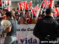 Protestors in Portugal