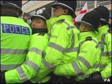 Police at an English Defence League protest