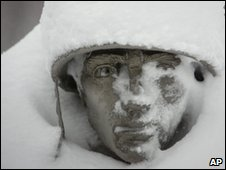 Snow on the Korean War Memorial in Washington, 6 Feb
