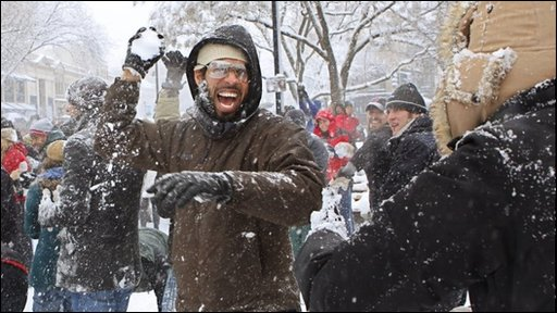 A man getting ready to throw a snowball in Washington