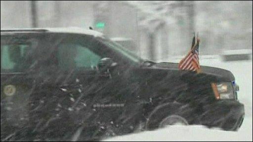 President Obama's motorcade in Washington snow