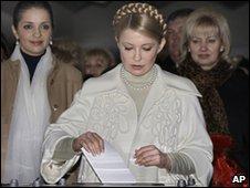 Prime Minister Yulia Tymoshenko casting her ballot.