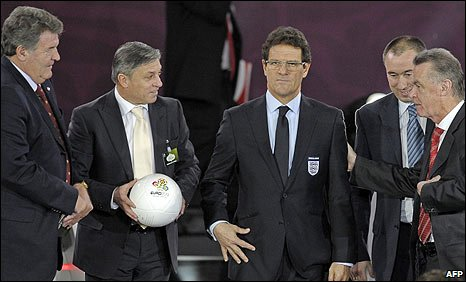 Fabio Capello is joined by managers of the other teams in Group G