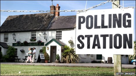 The Poplars Inn Polling station, European and local elections Wingfield, England 2009