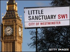 Little Sanctuary sign outside Westminster