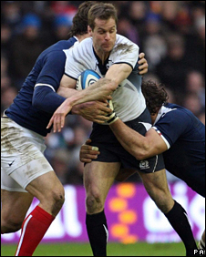 Chris Paterson is tackled in the SIx Nations defeat by France at Murrayfield