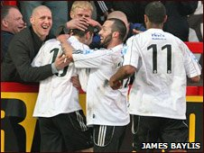 Andy Brown (no.10) after his second goal at Droylsden