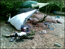 Litter left after camping