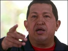 Hugo Chavez during the 31 January broadcast of Alo Presidente