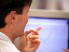 Man pointing at computer screen, Eyewire