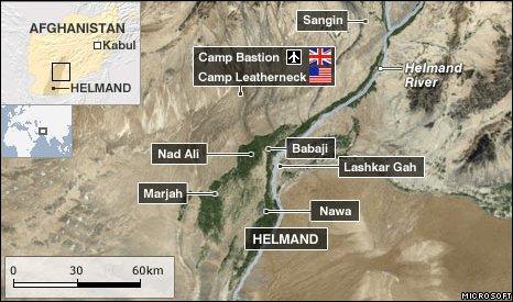 Areas of hostilities in Helmand province