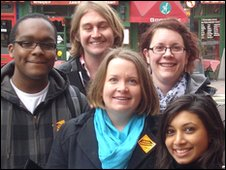Jo Shaw (centre) with some of her young campaigners