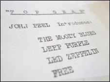 John Peel's running order