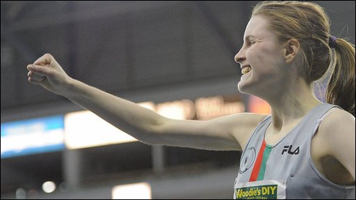Ciara Mageean celebrates after winning the 800m in a new Irish junior record