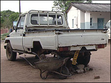 Broken-down pick-up truck at district laboratory