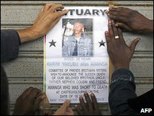 Poster commemorating one of six Africans killed in Castel Volturno, Italy, in September 2008