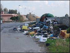 Rubbish on streets of Castel Volturno, Italy