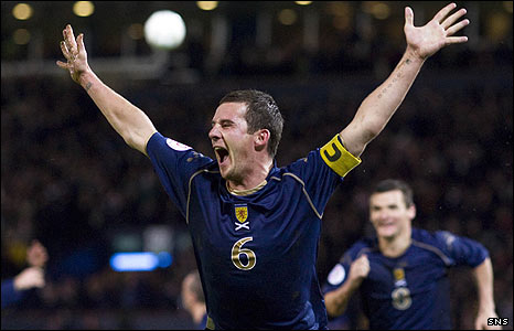 Barry Ferguson celebrates his goal against Italy at Hampden