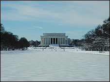 The Lincoln Memorial and a frozen reflecting pool