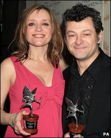 Anne-Marie Duff, with her Best Actress award, and Andy Serkis, with his Best Actor award, 