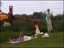 Family of mannequins exposed to crop spraying (Pic: Georgina Downs)
