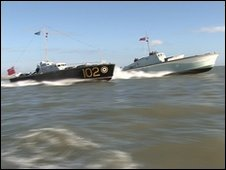 The RAF rescue launch 102 and MGB81 motorboat