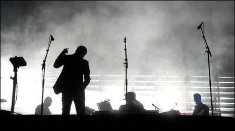 Massive Attack on stage at Glasonbury in 2008