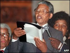 Nelson Mandela making a speech in Cape Town after his release from prison