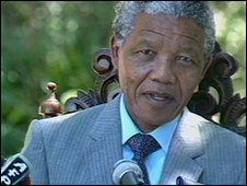 nelson Mandela seen being interviewed shortly after his release from jail [VT Freeze Frame]