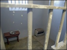 The cell at Robbin Island where Mandela was imprisoned