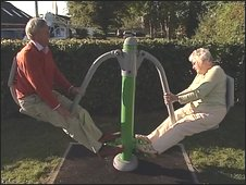 An elderly man, left, and elderly woman on a exercise machine in playground