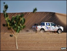 Juan Aibar of Spain drives his Toyota during the 8th stage Tabenkrout - Tabenkrout, Mauritania, of the second edition of the Africa Eco Race