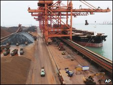 Iron ore being unloaded at Chinese port